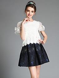 Verão aofuli mulheres moda vintage, mais o tamanho do laço talão organza blusa + saia de impressão conjunto de duas peças