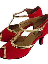 Customizable Women's Dance Shoes Latin/Ballroom Patent Leather/Flocking Customized Heel Red