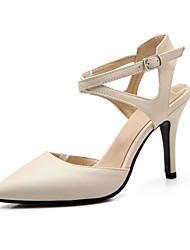 Черный / Бежевый-Женская обувь-Для праздника-Дерматин-На шпильке-На каблуках / Босоножки / С острым носком-Сандалии