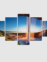 Paisagem / Moderno Impressão em tela 5 Painéis Pronto para pendurar,Quadrada