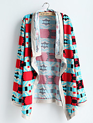 Women's Print Blue Cardigan , Street chic Long Sleeve