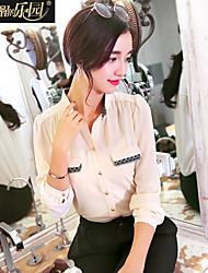 Wake Up ® Mujer Escote Chino Manga Larga Camisa y blusa Negro / Borgoña-XFS16020