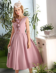 Cocktail Party Dress A-line Scoop Tea-length Satin / Taffeta with Flower(s)