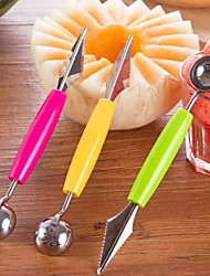 1pcs Stainless Steel Ice Cream Double-End Scoop Spoon Melon Baller Cutter Fruit Kitchen Tools(Random Color)