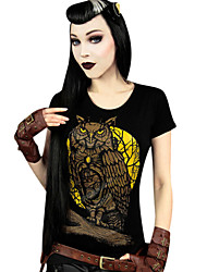 Witch/Vampire Style Terylene Black Print Short Sleeve Classic Punk T-shirt