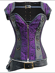 Burvogue Women's Fashion Vintage Retro Goth Brocade Steampunk Overbust Corset with Jacket and Belt