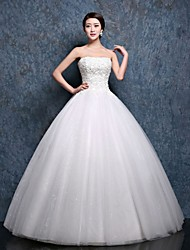 Ball Gown Wedding Dress-White Floor-length Sweetheart Lace / Satin / Tulle