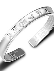 Unisex's Bracelet Sterling Silver Plated Chinese Characters Insert Cuff Bracelet Wedding Bride