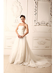 A-line Wedding Dress Chapel Train Strapless Organza / Satin with Appliques / Beading