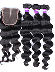 6A Indian Loose Wave Virgin Hair Lace Closure With Bundles Natural Color Bleached Knots Indian Virgin Hair With Closure