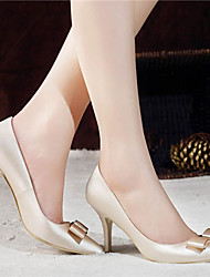 Women's Spring Summer Fall Satin Wedding Dress Party & Evening Stiletto Heel Bowknot Red Champagne