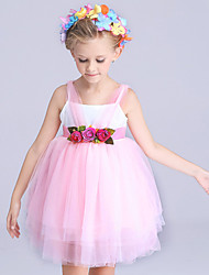 Girl's Pink Dress,Floral Polyester Summer
