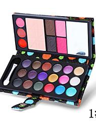 26 Farben Lidschatten gepressten Pulver Lipgloss Blusher Stirn Pulver 5in1 Make-up Kollektion Brieftasche Verpackung