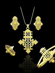 Ethiopian Jewelry Pendant Necklace Chain/Earrings/Bangle/Ring Set Coptic Crosses Gold Plated 18k African Cross Wedding
