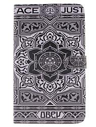 grand motif de fleur noire cuir PU cas complète du corps avec support et fente pour carte samsung galaxy tab e 8.0 T377 T375