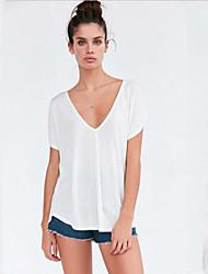Damen Solide Street Schick Lässig/Alltäglich T-shirt,V-Ausschnitt Sommer Kurzarm Rot / Weiß / Schwarz Baumwolle Mittel