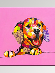 VISUAL STAR®Lucky Dog Painting Digital Canvas Prints Cute Animal Art Print Ready to Hang