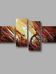 "Stretched (Ready to hang) Hand-Painted Oil Painting 64""x40"" Canvas Wall Art Modern Abstract Brown Dark Red"