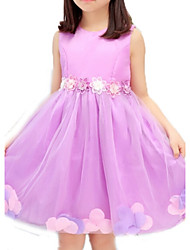 Girl's Pink / Purple Dress,Lace Cotton Summer