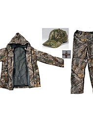 Men Outdoor Spoorts Bionic Camouflage Hunting Wader Fishing Suits Camo Hunting Clothing Suit =Jacket+Trousers+Hat