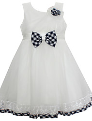 Girl's White Flower Bow Party Pageant Bridesmaid Dance Baby Kids Clothing Dresses