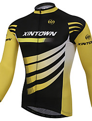 XINTOWN Cycling Jersey Men's Yellow Black Cycling Clothing MTB Long Sleeve Bike Jersey