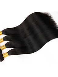 """4 unidades / lote 8 """"-30"""" cabelo peruvianvirgin pacotes de tecelagem de cabelo humano natural preto em linha reta"""