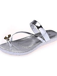 Women's Shoes Leatherette Wedge Heel Round Toe Sandals Outdoor / Casual Silver / Gold