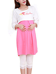 Hot Sale High Quality Round Neck Ruffle Maternity Dress,Cotton / Polyester Above Knee ¾ Sleeve