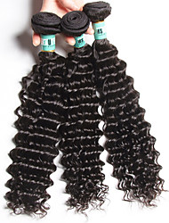 Indian Virgin Hair Deep Wave 3 Bundles Total 300 Grams Unprocessed Virgin Human Hair Weave Extensions