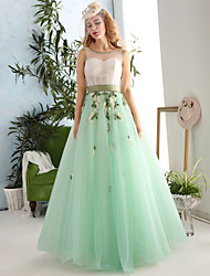 Formal Evening Dress Ball Gown Jewel Floor-length Lace / Tulle