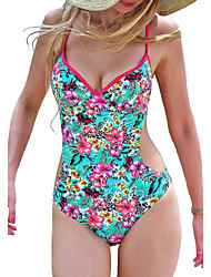 Women's Vintage Retro Floral Push Up Padded One Piece Monokini Swimwear