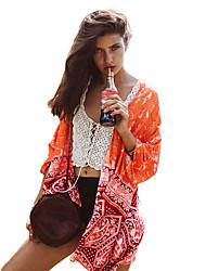 New Fashion Women Cardigan Open Front Contrast Print Half Sleeve Kimono