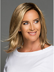 Women Exquisite Medium Length Straight Blonde Color Synthetic Wig