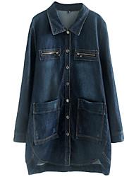 Women's Plus Size High Low Hem Denim Coat