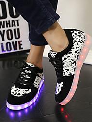 Da donna Da uomoTempo libero Casual Sportivo-Light Up Shoes-Piatto-Finta pelle-Nero Rosso