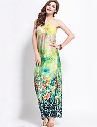 Women's Vintage / Boho Print Swing Dress,Halter Maxi Polyester