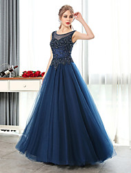 Formal Evening Dress A-line Scoop Floor-length Tulle with Beading / Crystal Detailing / Pearl Detailing / Sequins
