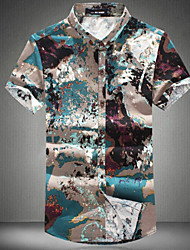Men's Print Casual Shirt,Cotton Short Sleeve Multi-color