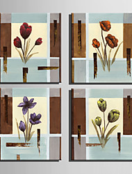Mini Size E-HOME Oil painting Modern Flowers Retro Pattern Pure Hand Draw Frameless Decorative Painting