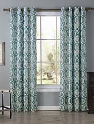 One Panel Designer Geometic Blue Living Room Polyester Panel Curtains Drapes 52 inch Per Panel