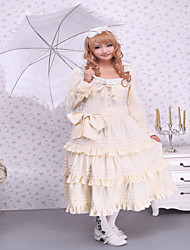 Steampunk®Beige Long Sleeves Ruffles Cotton Sweet Lolita Dress