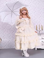 Une Pièce/Robes Gothique / Doux / Lolita Classique/Traditionnelle Steampunk® Cosplay Vêtements de Lolita Beige Couleur PleineManches