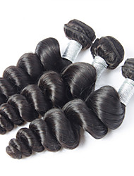 Wholesales 300g/lot 8-26inch Peruvian Virgin Hair Loose Wave Black Color Raw Human Hair Weaves .