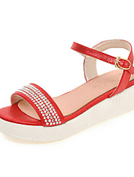 Women's Shoes Leatherette Platform Open Toe Sandals Casual Red / Silver / Gold