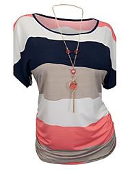 Mulheres Camiseta Formal Plus Sizes / Vintage / Simples Verão,Patchwork Azul / Vermelho Algodão / Acrílico Decote Redondo Manga Curta
