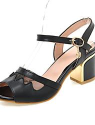 Zapatos de mujer-Tacón Robusto-Tacones-Sandalias-Boda / Vestido / Casual / Fiesta y Noche-Semicuero-Negro / Azul / Beige
