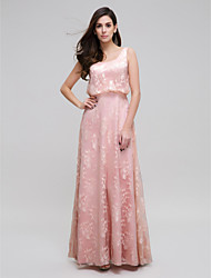 TS Couture Prom Formal Evening Dress - Elegant Sheath / Column Scoop Floor-length Lace with Lace