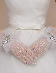 Wrist Length Fingertips Glove Net / Tulle Bridal Gloves / Party/ Evening Gloves Ivory Rhinestone