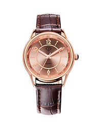 Men's Golden Case Brown Leather Band Wrist Dress Watch Jewelry Unisex Couple Wrist Watch Cool Watch Unique Watch